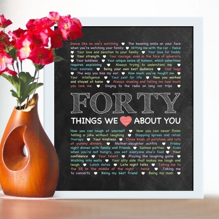 40 Things We {Love} About You - Chalkboard Art -- If you love heartfelt, memorable gifts, this is the one for you! Things We {Love} About You - Chalkboard Art is perfect for birthdays, anniversaries, or special occasions. Add your own words to make a truly special gift. #40birthdaygift | thishappymommy.com