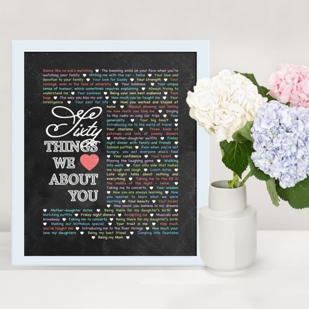 60 Things We {Love} About You - Chalkboard Art -- If you love heartfelt, memorable gifts, this is the one for you! Things We {Love} About You - Chalkboard Art is perfect for birthdays, anniversaries, or special occasions. Add your own words to make a truly special gift.  #60birthdaygift | thishappymommy.com