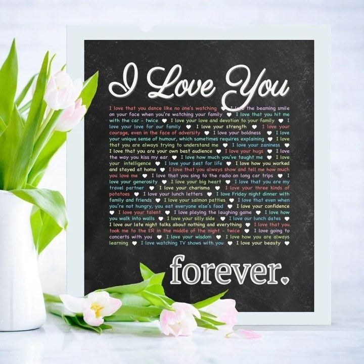 """I Love You - Forever - Chalkboard Art -- Say """"I Love You!"""" in the perfect way, with a gift that last. This gift is perfect for birthdays, anniversaries, or special occasions. Add your own words to make a truly special gift.