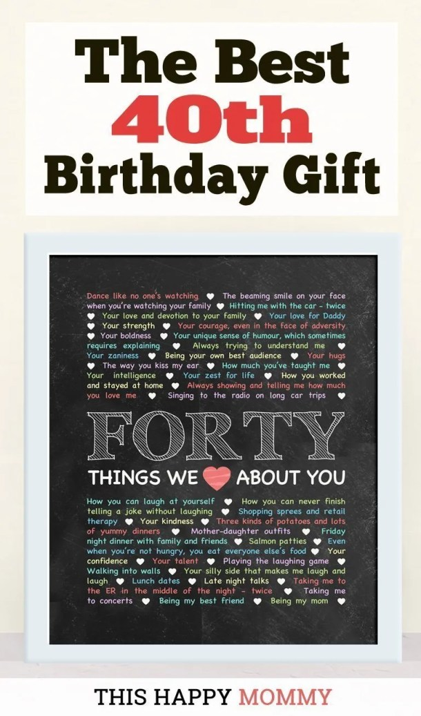 40 Things We Love About You -- My husband loves this gift!! It is the best 40th birthday gift. | 40th birthday gift for husband | 40th birthday gift for wife | birthday party gift for adults | DIY 40th birthday gift | birthday gift chalkboard art | #40birthday #birthdaygift #gifts #diy #bestgift | thishappymommy.com