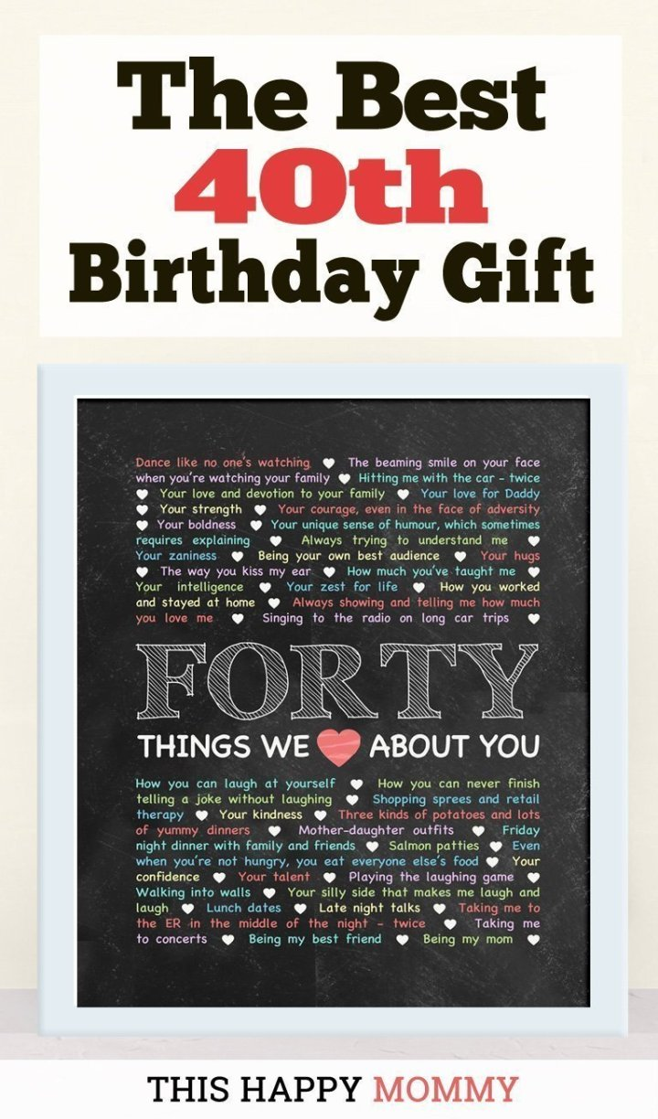 40 Things We Love About You -- My husband loves this gift!! It is the best 40th birthday gift. | 40th birthday gift for husband | 40th birthday gift for wife | birthday party gift for adults | DIY 40th birthday gift | birthday gift chalkboard art |#40birthday#birthdaygift#gifts #diy#bestgift | thishappymommy.com