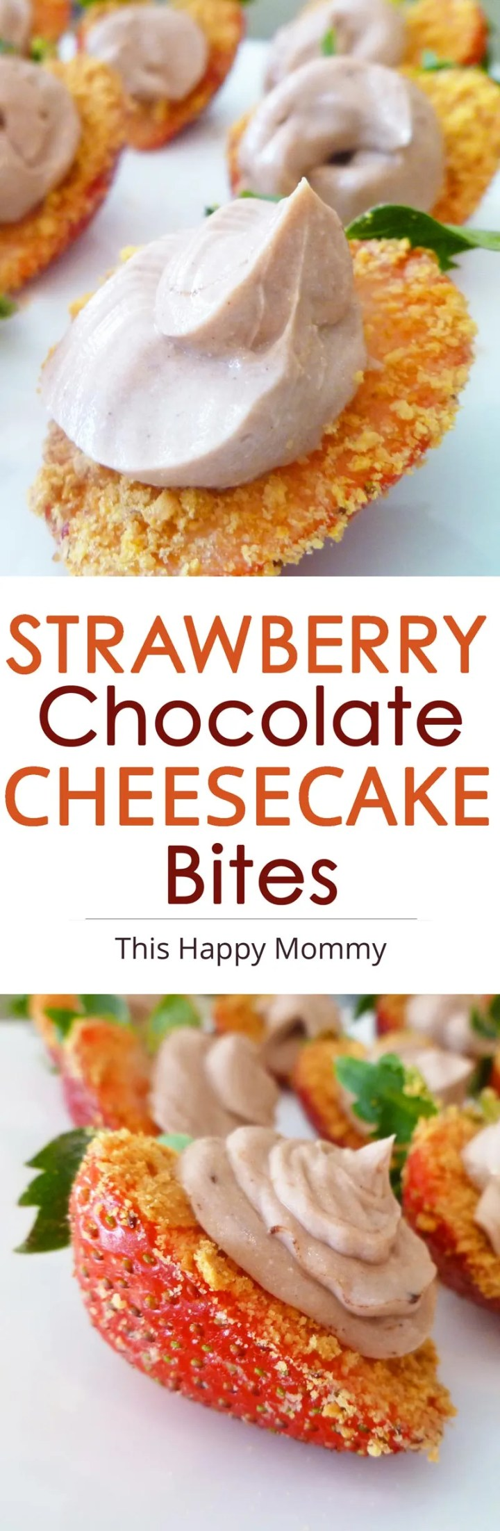 Strawberry Chocolate Cheesecake Bites -- The perfect summer dessert idea!! Strawberry bites covered with agraham cracker crust and a swirl of creamy chocolate cheesecake. #healthyrecipe #easydessert #minicheesecake   thishappymommy.com