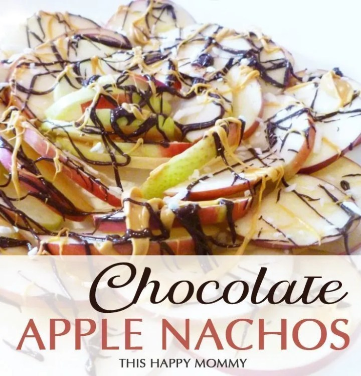 Chocolate Apple Nachos -- Yum! These nachos taste like candy apples. My family can't get enough of this apple-licious treat. #apple #candyapple #recipe #lowfat | thishappymommy.com
