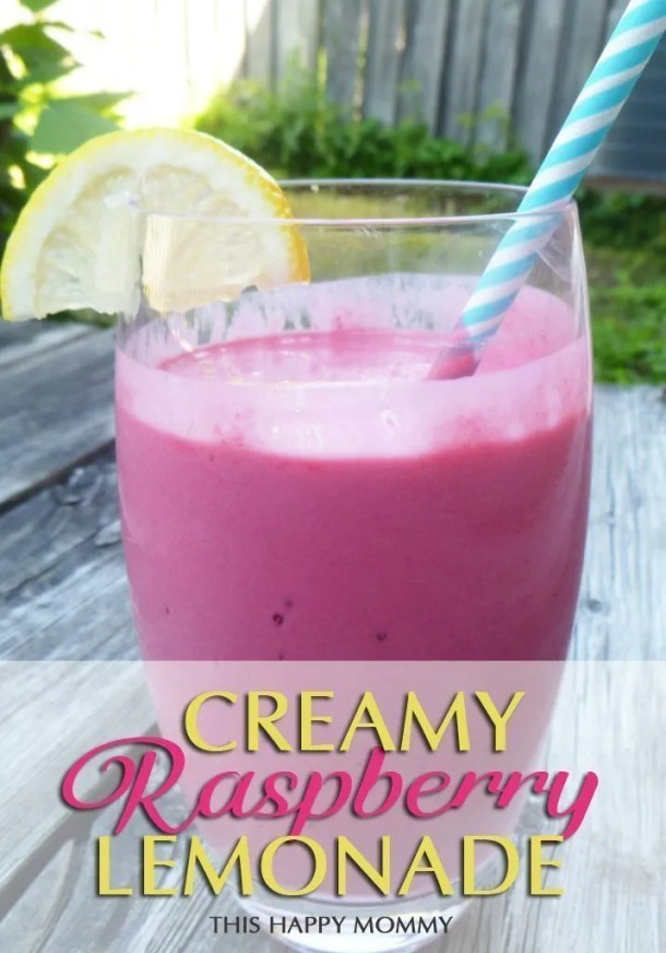 Creamy Raspberry Lemonade -- This smoothie is summer-licious. It has everything you love about a classic lemonade drink. With freshly squeezed lemon and frozen raspberries, this honey-sweetened drink is creamy and refreshing. | #drink #smoothie #recipe #lowfat | thishappymommy.com