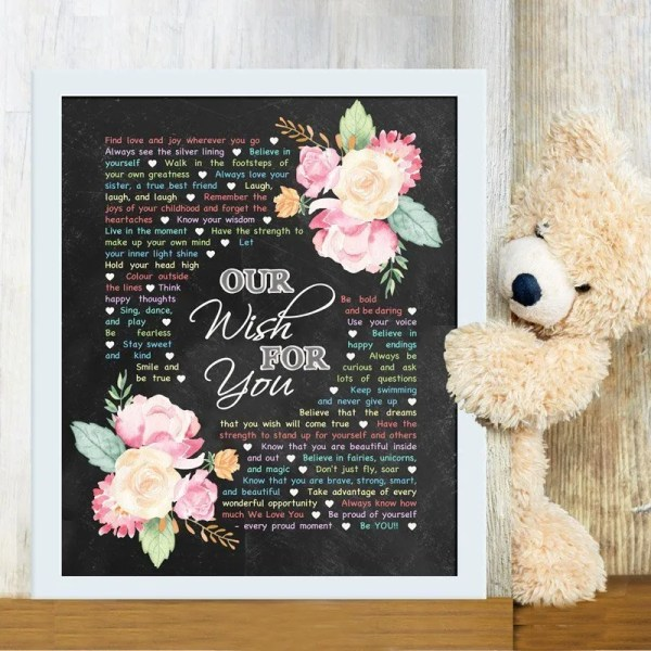 Our Wish For You - Custom Copy - Chalkboard Edition -- There are so many wishes that you can have for a child. Whether they are a baby, a young child, or even an older one, Our Wish For You captures all the hopes and dreams you can have for this very special person in your life. | thishappymommy.com
