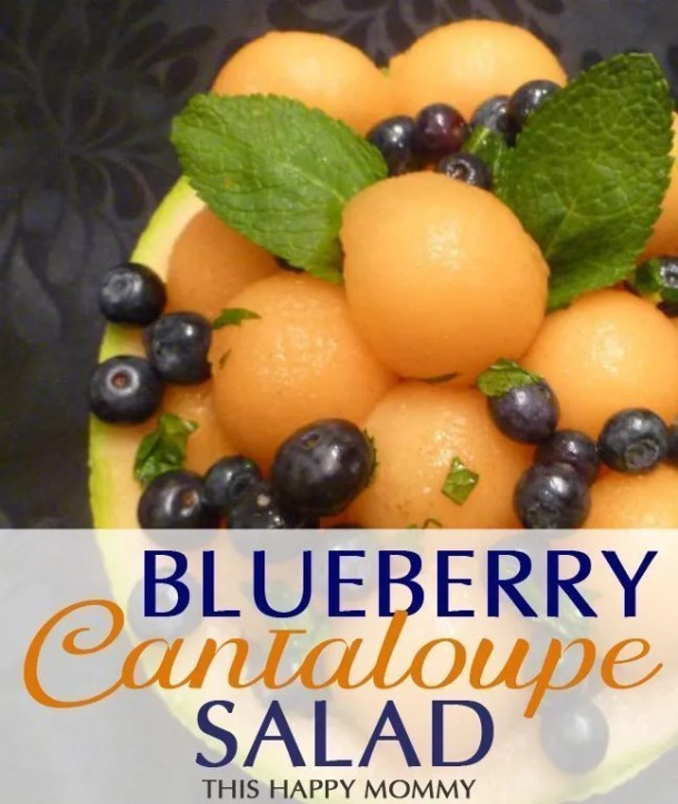 Blueberry Cantaloupe Salad -- Wow! My family loves this fruit salad. With a simple sweet dressing, and two fruit, no one can get enough of this dish. #recipe #salad #fruitsalad #healthydessert #dessert #recipe | thishappymommy.com
