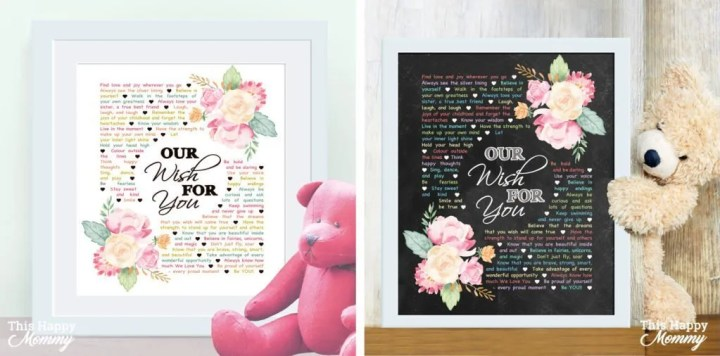 Our Wish For You - A Parent's Wish Nursery Art is a gift filled with a parent's wish for their child. Perfect for a new baby, young child, or a big kid. DIY Gifts for Babies | Easy DIY gifts | Unique DIY gifts | creative DIY gifts | DIY craft gifts | last minute gifts | DIY Gifts for Kids | DIY Nursery Art Gifts | birthday party gifts for kids | #diy #nurserydecor #nurseryideas #birthday #gifts | thishappymommy.com