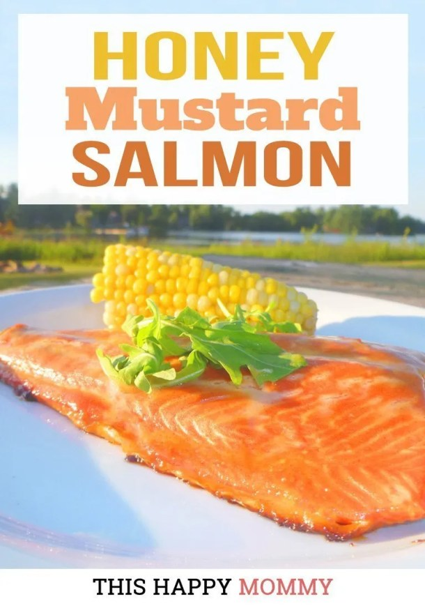 Looking for a simply delicious meal? With only four ingredients, Honey Mustard Salmon is a quick and easy meal that's sure to impress. | easy fish recipe | healthy fish recipes | oven baked salmon | simple honey mustard salmon recipe | quick and easy baked salmon recipe | #fish #salmon #bakedsalmon #dinner #healthydinner | thishappymommy.com