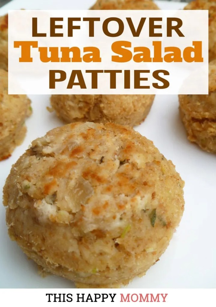 Leftover Tuna Salad Patties -- A simple and tasty way to use leftover tuna salad. Within 30 minutes you can have a new meal that's always sure to please. | baked tuna patty recipe | healthy clean eating fish recipe | healthy and easy family meal | kid friendly dinner recipe | #dinner #tuna #recipe #healthyrecipe #tunapatty | thishappymommy.com