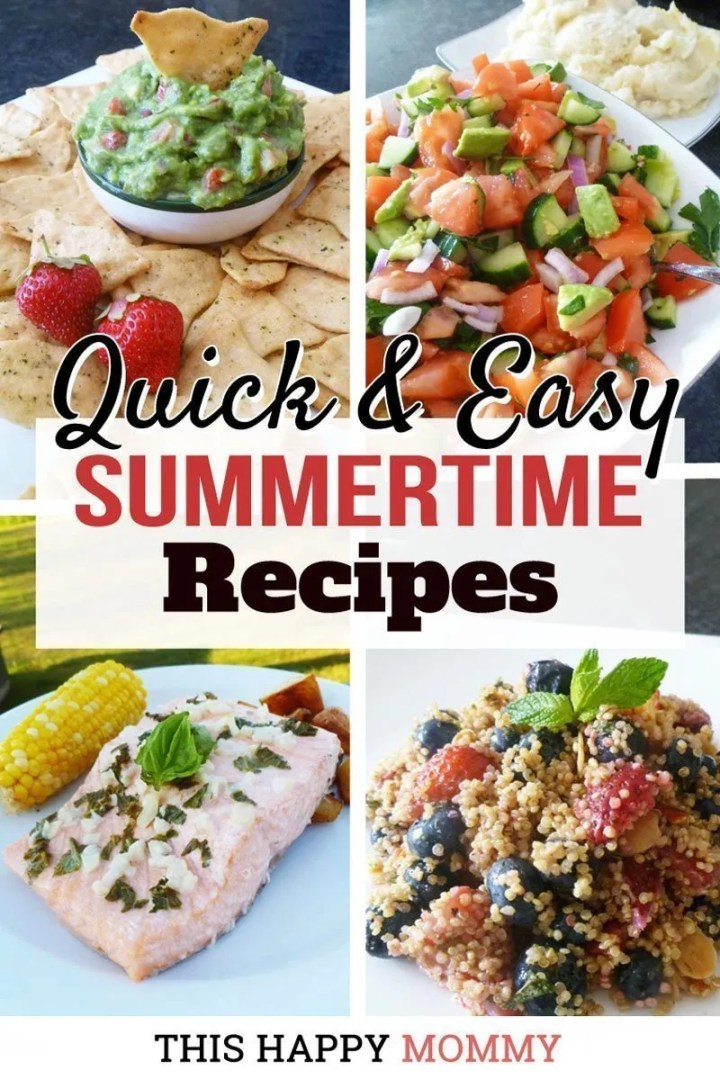 Enjoy some simple and satisfying summertime recipes that you can make all summer long!Quick and Easy Summertime Recipes are a collection of recipes that you and your family can enjoy all season long. | easy family recipes | simple and light meals | Warm Quinoa Salad Recipes | Healthy Salad Bowl Dinners | Simple Pasta Recipe Side Dish | baked tuna patty recipe | high protein healthy eating vegetarian recipes | easy vegetarian recipes for kids | | low carb vegetarian meals for weight loss | meatless monday vegetarian recipes | healthy and easy family vegetarian meals | clean eating healthy breakfast recipes | Make Ahead Appetizer Recipes | Easy Appetizer Recipes for a Crowd | Popular Appetizers for a Party | Easy Dips and Appetizers | #familyrecipe #dinner #breakfast #summerfood #lunch | thishappymommy.com
