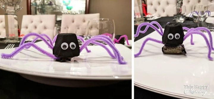 Trick-Or-Treat Halloween Spiders — My family loves this fun Halloween surprise. Everyone will think that you made them a spider, but underneath there's a delicious treat. You can hide a chocolate or other candy underneath. | fun crafts for kids to make | dollar store crafts for kids activities | easy DIY kids crafts ideas | easy kids crafts for boys and girls | fun DIY crafts for kids to make at home | fun crafts for kids gifts projects | Easy DIY Halloween gifts | DIY Halloween crafts | #crafts #homedecor #halloween #diy #howto