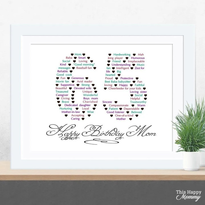 Know someone who is turning 65? Happy 65th Birthday Gift is the perfect gift for the person who has everything. Fill it with words and messages about the birthday person for a one-of-a-kind gift that will be treasured for many years to come. 65th birthday gift for dad   65th birthday gift mom   birthday party gift for adults   the best 65th birthday gift #65birthday #birthdaygift #gift #bestgift   thishappymommy.com