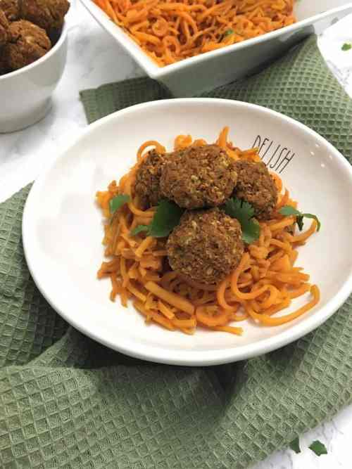 Sweet Potato Noodles topped with vegan lentil meatballs