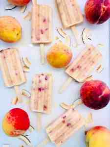 easy coconut peach popsicles