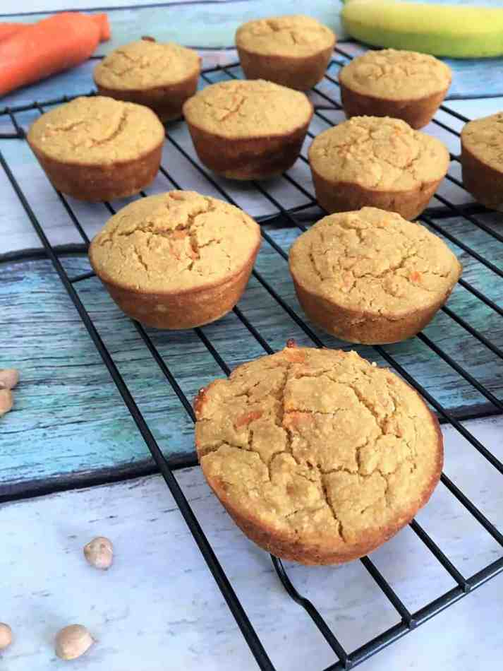 Healthy Carrot Cake Muffins on cooling rack close up
