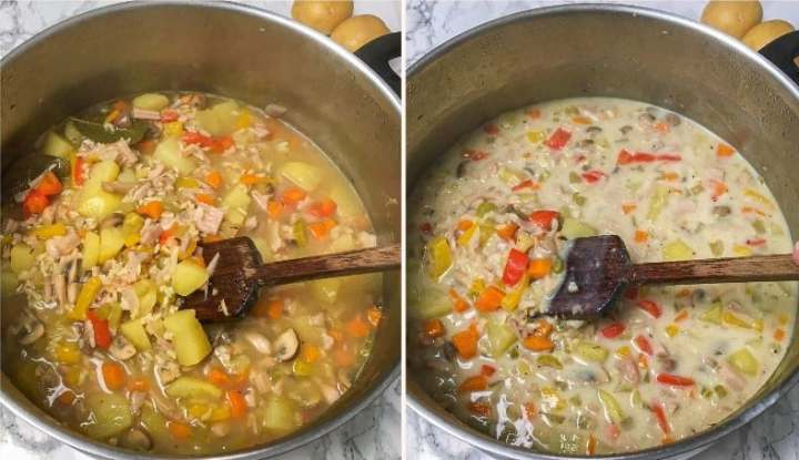 stirring cooked vegan chicken soup in large pot
