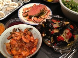 Dinner! Dungeness crab, Creole Tiger shrimp, steamed mussels.