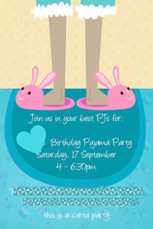 pyjama birthday party invite