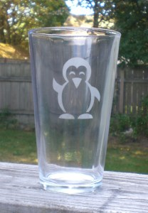 Penguin Etched Pint Glass