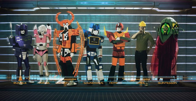 From left to right: Rumble, Arcee, Unicron, Soundwave, Hot Rod, Spike, abd a Quintesson.