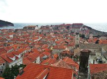 Hundreds of brick-red roofs along the coast of Adriatic Sea, Dubrovnik Croatia.