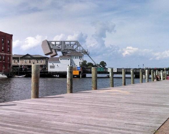 Downtown Mystic Bridge from Boardwalk