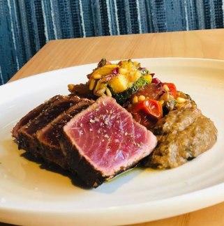 R.I. Bluefin tuna with summer squash caponata and roasted eggplant