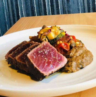 R.I. Bluefin tuna with summer squash caponata and roasted eggplant