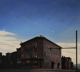 Flight Over a Small City. oil on paper mounted to canvas. 20 x 22 in. 2012_1