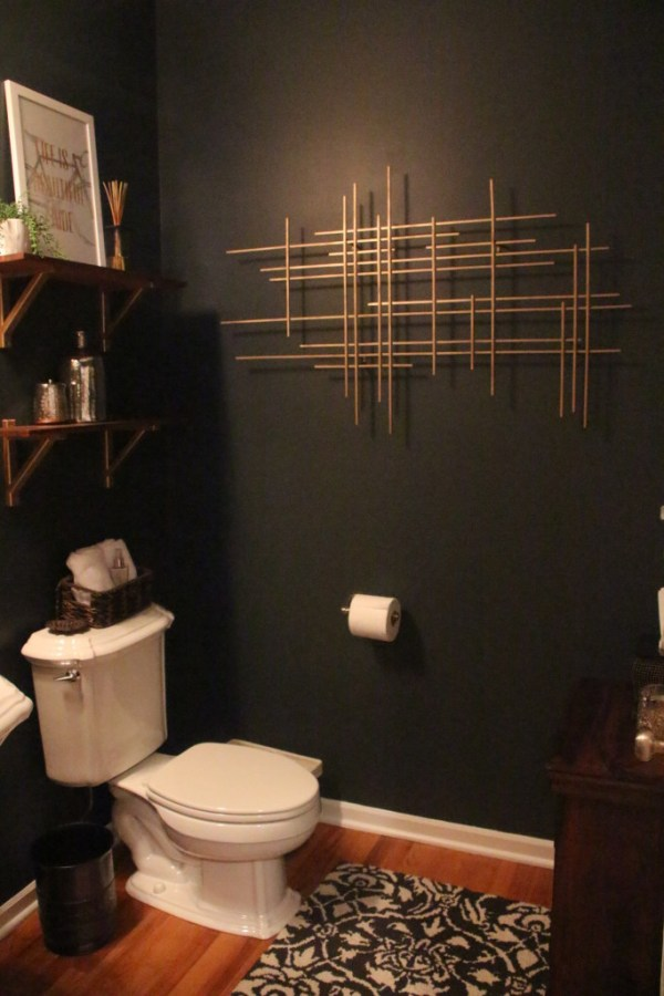 powder room makeover | Rustic modern glam | This is our Bliss | www.thisisourbliss.com