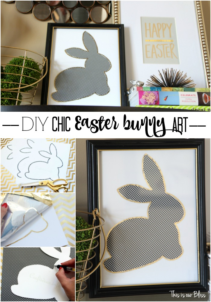 DIY chic easter bunny art | gold foil easter bunny art | DIY easter decor || This is our Bliss
