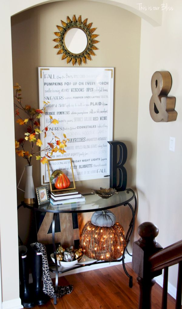 Fall entryway - fall vignette - entryway table styling - fall decor - neutral fall decor -staircase view - fall word art 1 - This is our Bliss