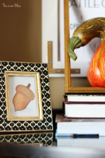 Fall entryway - fall vignette - entryway table styling - fall decor - neutral fall decor -staircase view - fall word art - mini framed acorn art - This is our Bliss