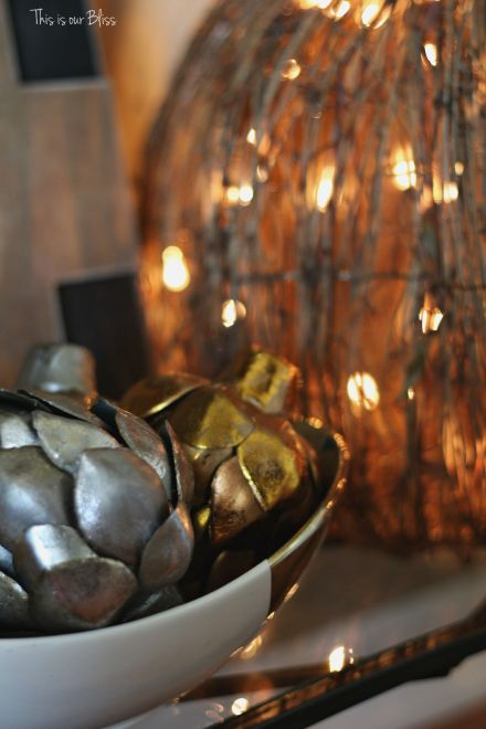 Fall entryway - fall vignette - metallic artichokes - rustic number 4 - fall decor - light-up pumpkin - This is our Bliss