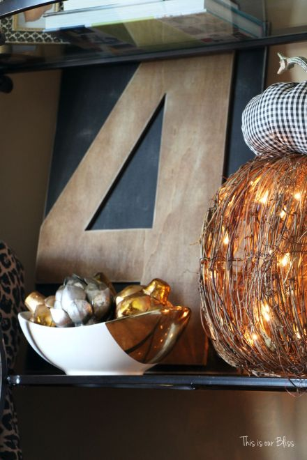 Fall entryway - fall vignette - metallic artichokes - rustic number 4 -gingham fabric pumpkin - fall decor - This is our Bliss
