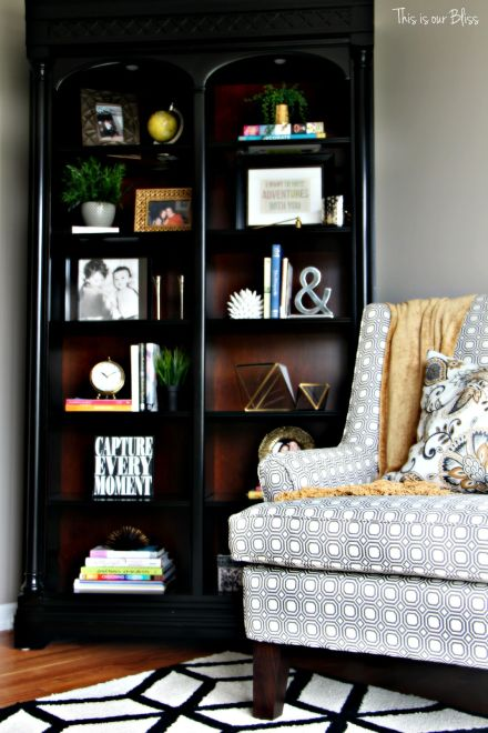 formal living room bookcase before - how to update an old bookcase - This is our bliss