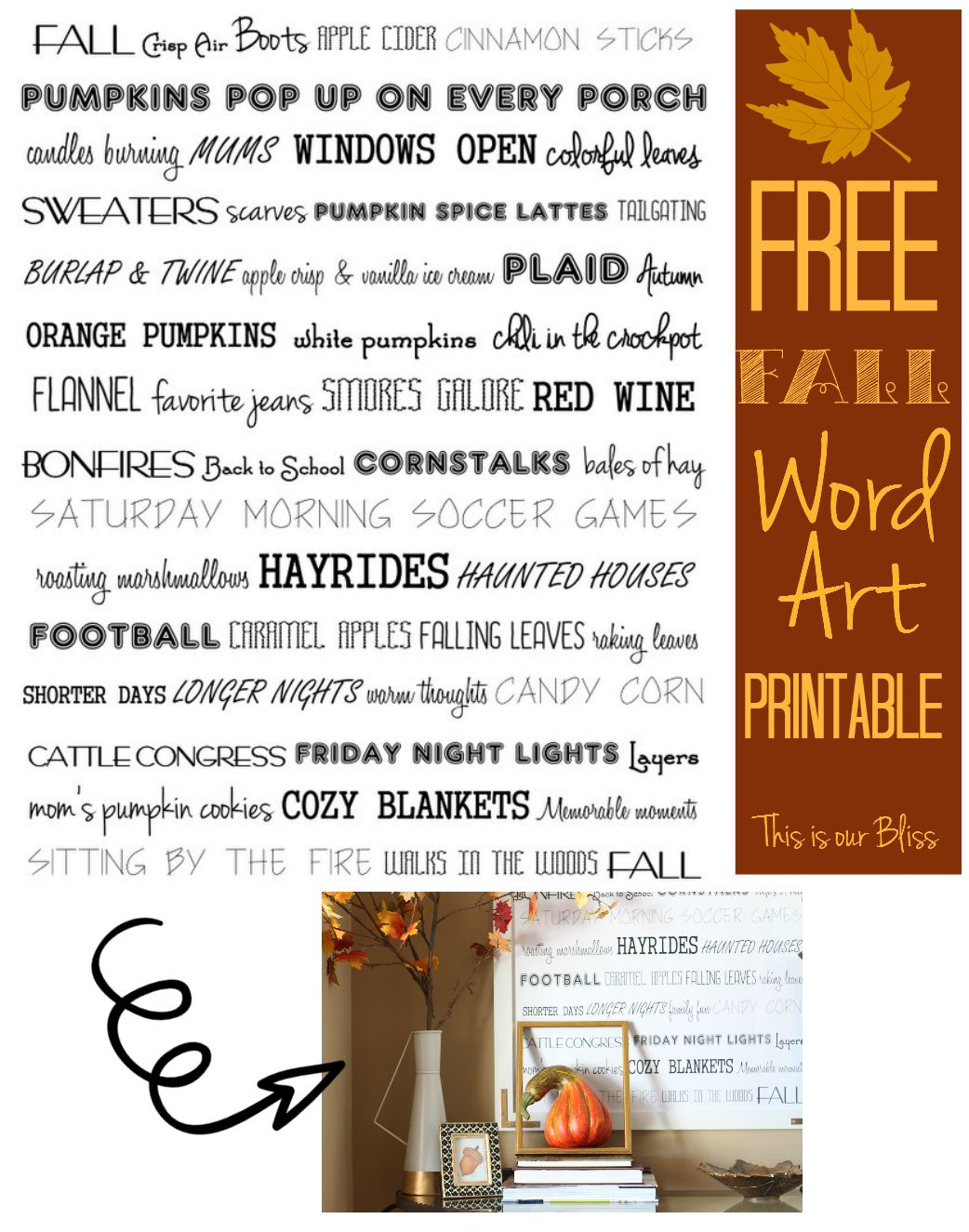 How to diy oversized fall word art this is our bliss free fall word art printable fall printable fall decor word art wall amipublicfo Gallery