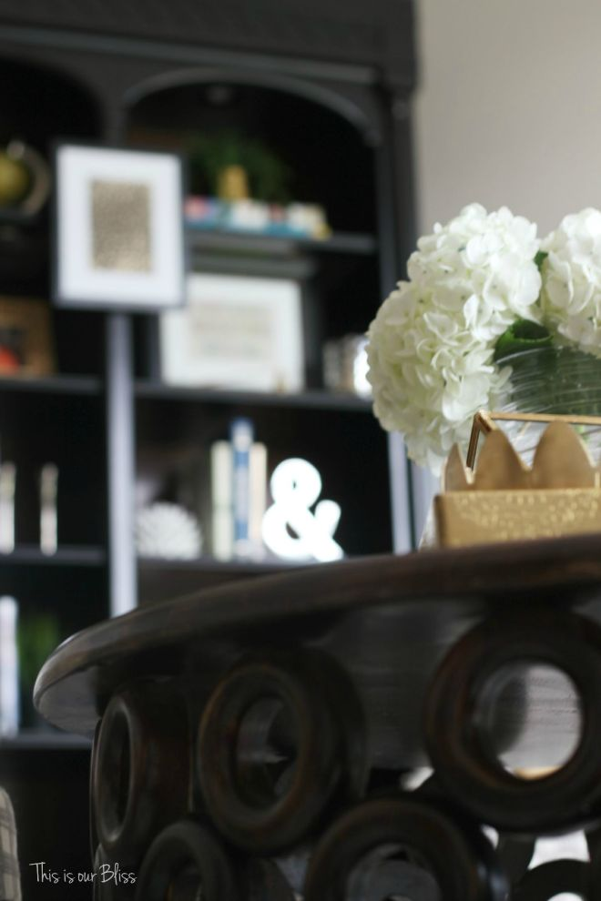 How to style a coffee table - coffee table styling - elements of a well-styled coffee table - coffee table detail - living room bookcase - fresh flowers - Back to Basics - This is our Bliss