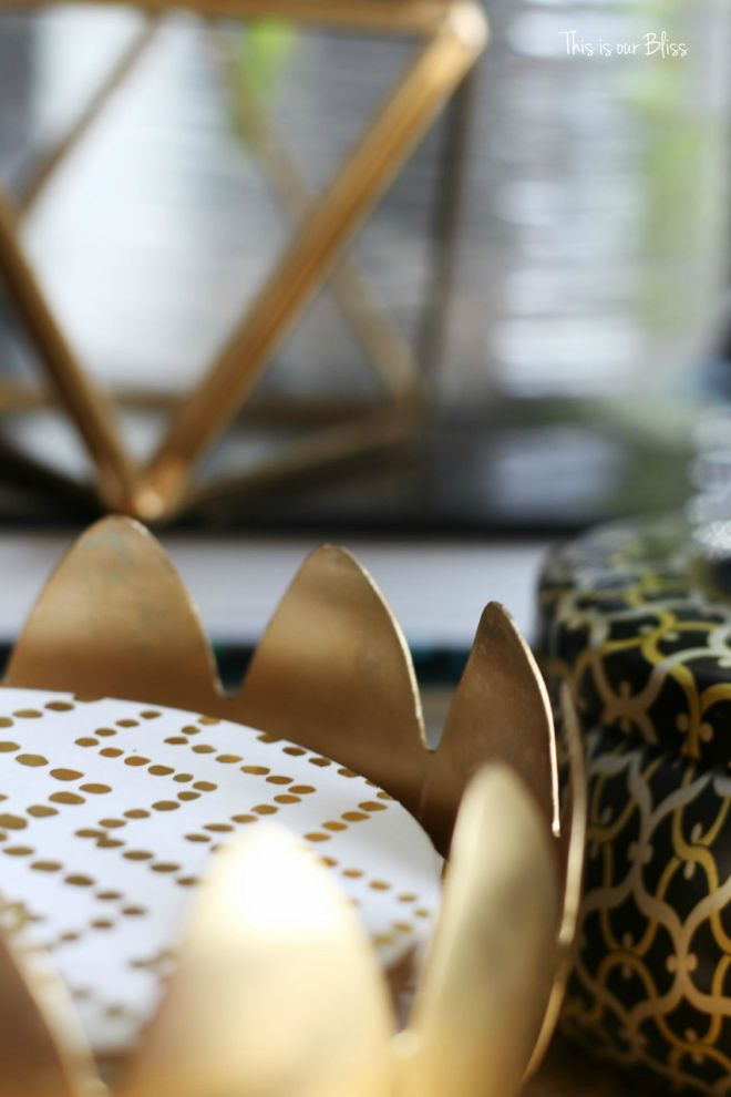 How to style a coffee table - coffee table styling - elements of a well-styled coffee table - gold detail - coasters - Back to Basics - This is our Bliss