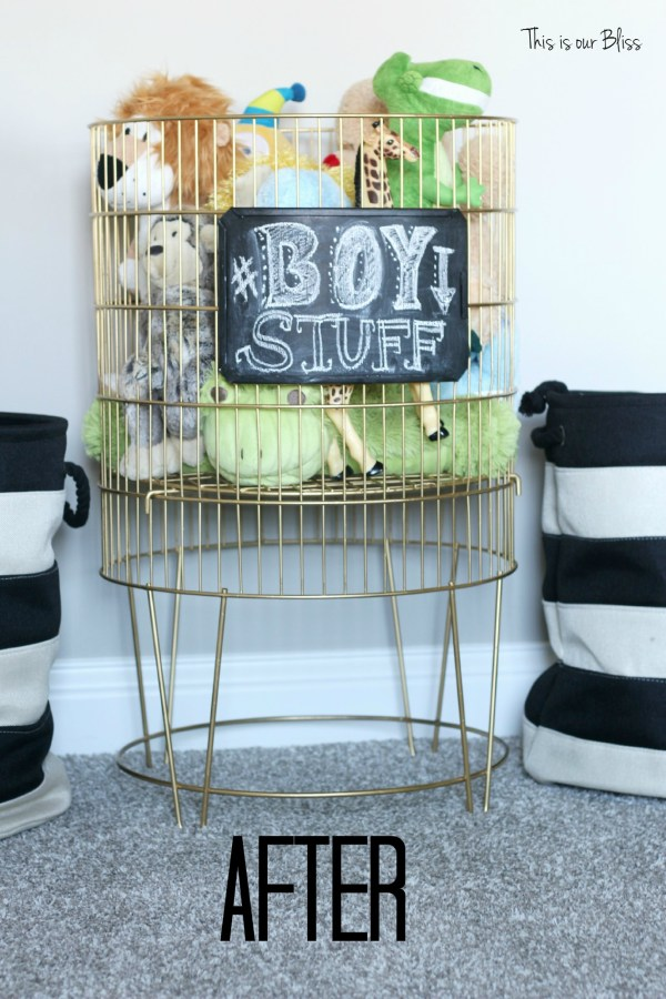 After metal toy bin gold spray paint & chalkboard paint diy toy bin - this is our bliss