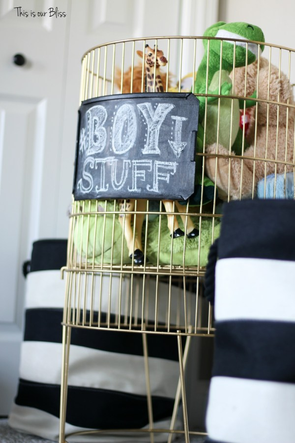 DIY metal toy bin gold spray paint & chalkboard paint boy stuff playroom striped baskets 2 This is our Bliss