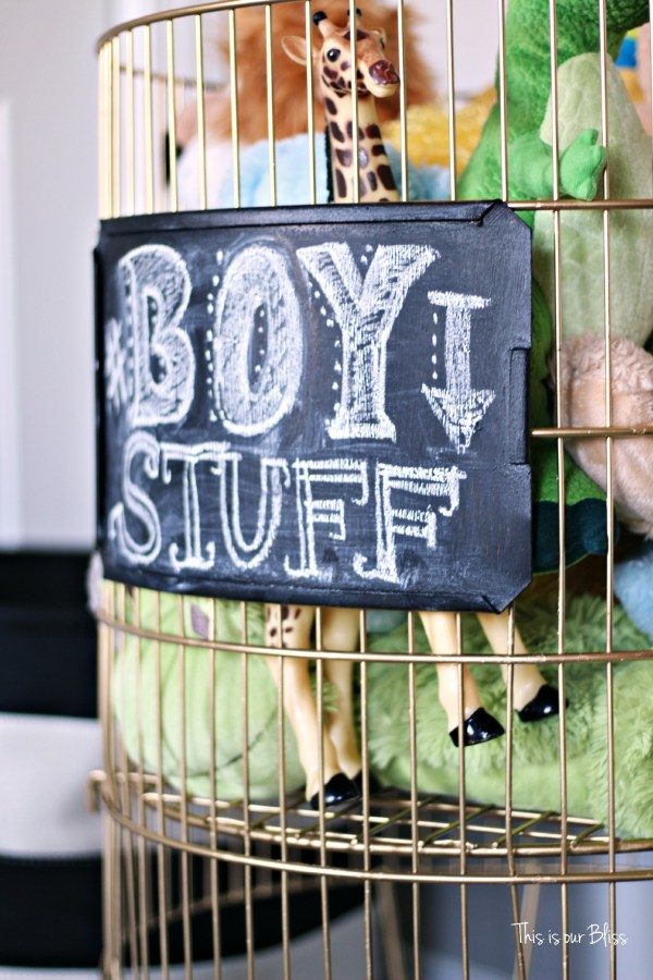 DIY toy bin gold spray paint & chalkboard paint boy stuff playroom This is our Bliss