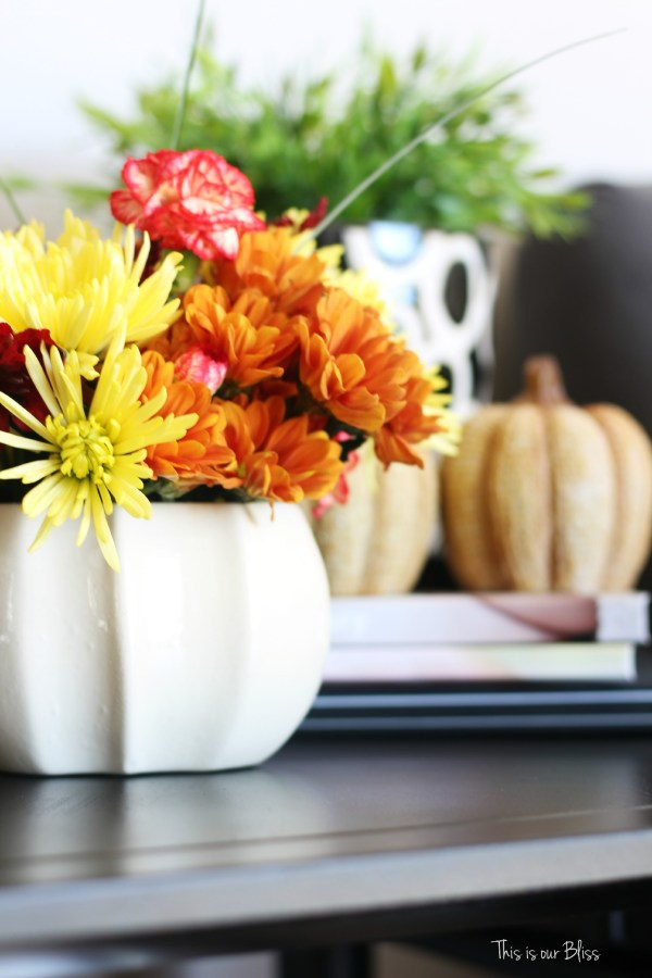 easy fall vignette - simply fall decor - this is our Bliss