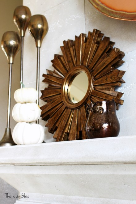 fall mantle - mantle styling - copper gold - mini pumpkins - gold sunburst - fall vignette - brass candlesticks - fall vignette 1 - This is our Bliss