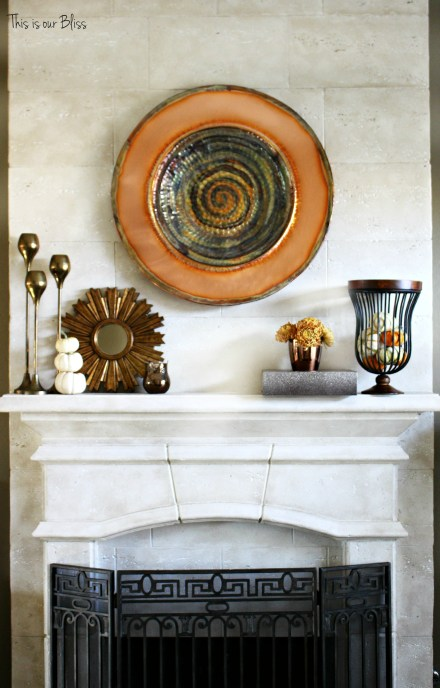 fall mantle - mixing metals - copper gold - rose gold vase - white pumpkins - This is our Bliss