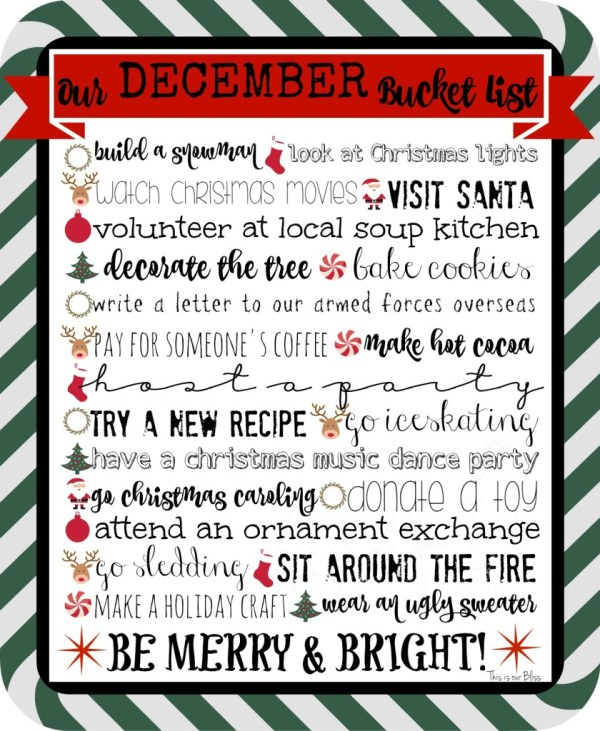 December bucket list - family friendly winter activities - 2015 - This is our Bliss