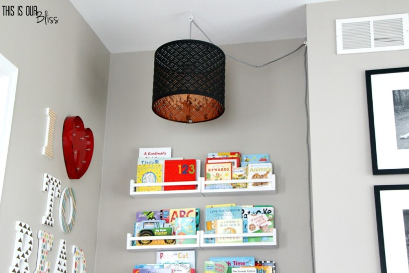 playroom reading nook - DIY reading nook light - reading corner - kids room - This is our Bliss