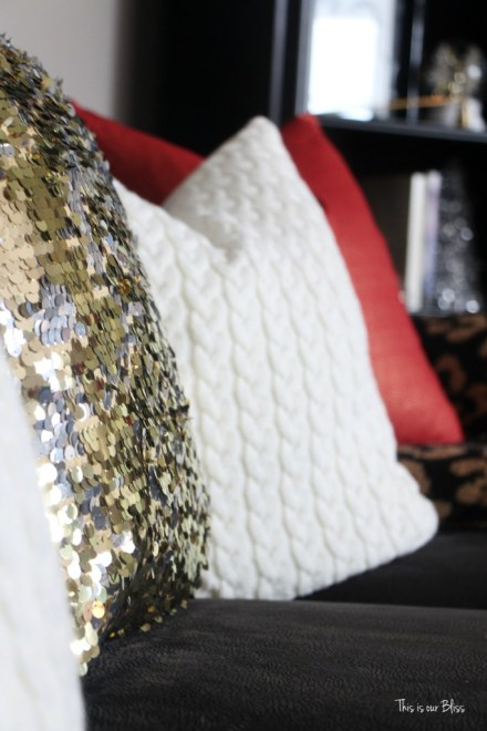 formal living room christmas decor - gold sequin pillow - This is our Bliss