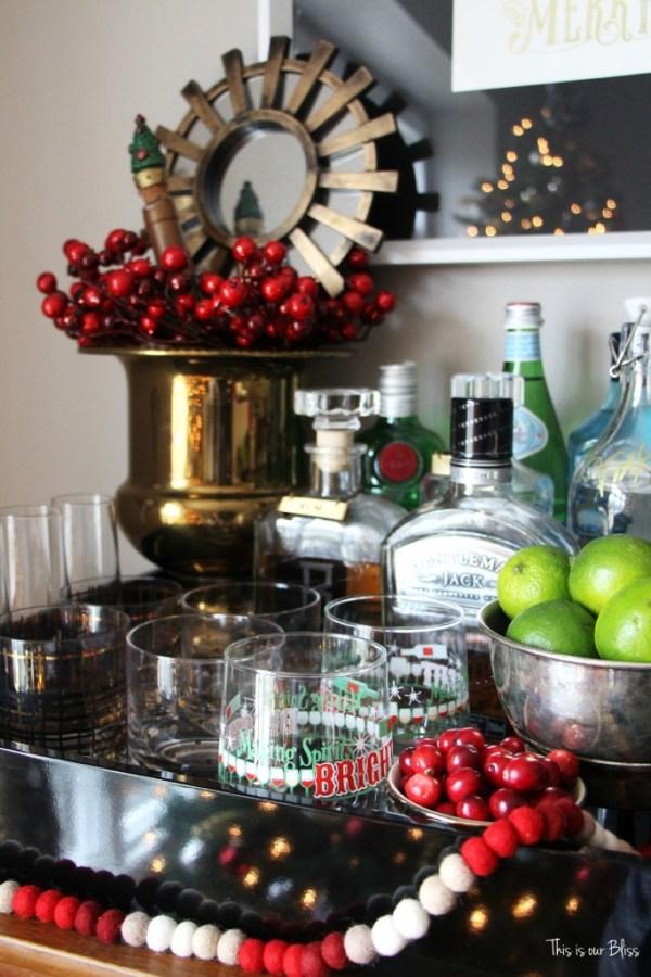 holiday bar tray - barware - bar accessories - bar cart styling - holiday bar - christmas spirits - This is our bliss