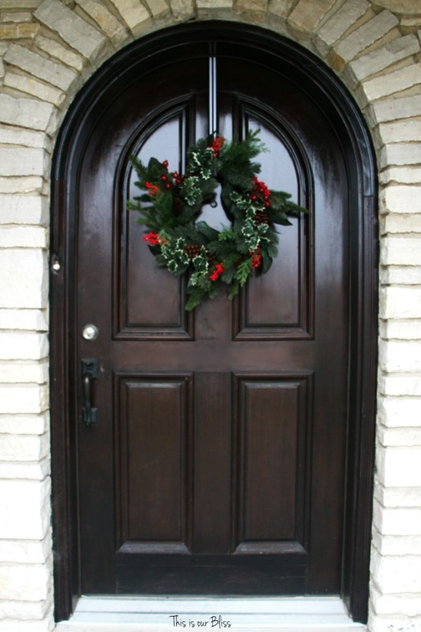 holiday home tour - This is our Bliss front door - front door christmas wreath - This is our Bliss